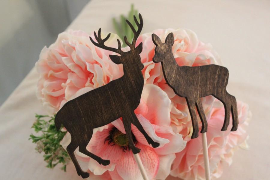Mariage - Deer Cake Topper - Mr & Mrs Deer- Beach wedding - Bride and Groom - Rustic Country Chic Wedding