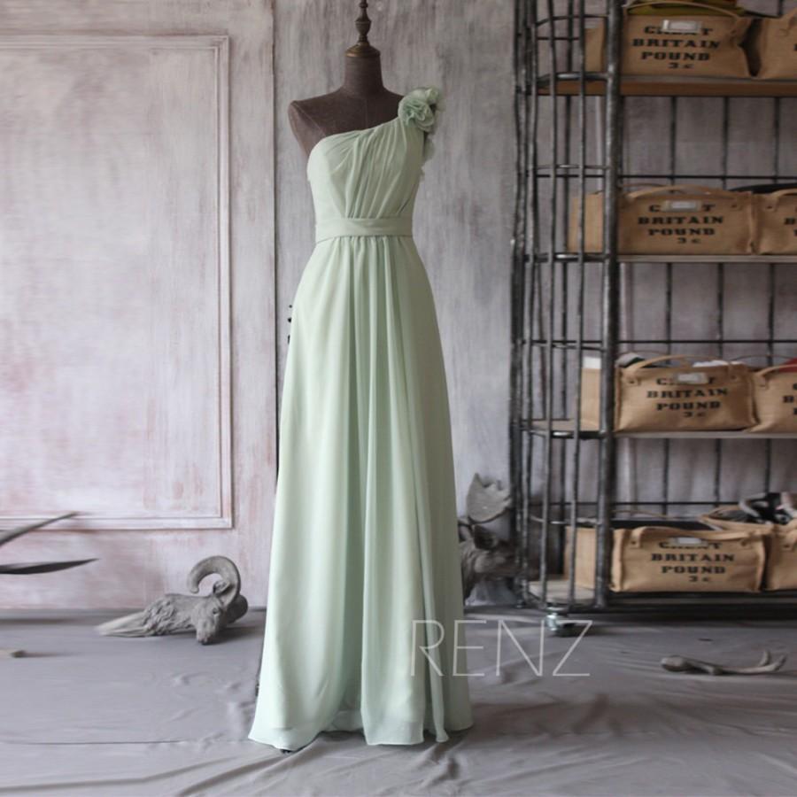 Свадьба - 2015 Mint Bridesmaid dress, Dusty Shale Wedding dress, Long One Shoulder Party dress, Flower Formal dress, Prom Dress floor length (F100)