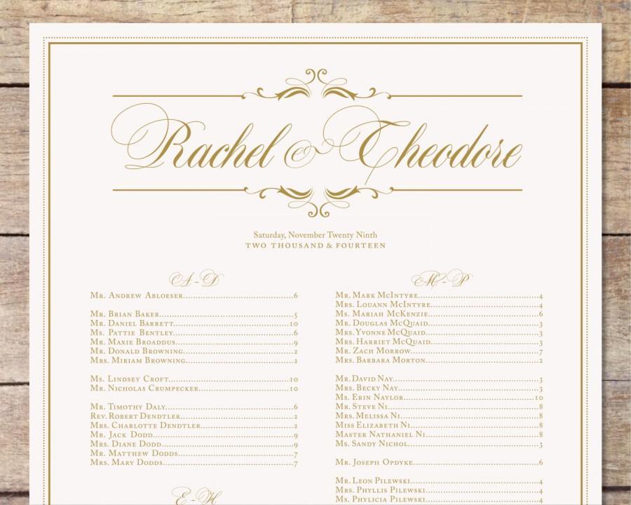 Ivory Gold Wedding Seating Chart Clic Glam Customizable Alphabetized Printable