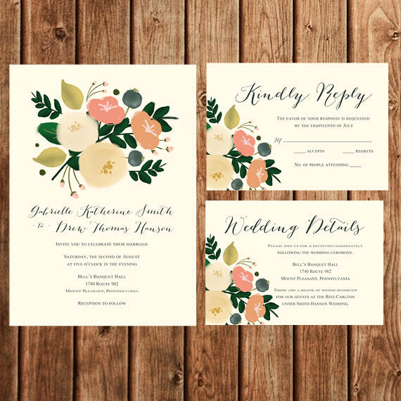Floral Wedding Invitation Coral Peach Cream Vintage Bohemian