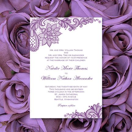 Hochzeit - Vintage Lace Wedding Invitations Purple Printable Template Editable Word.doc Instant Download Order Any Color DIY You Print