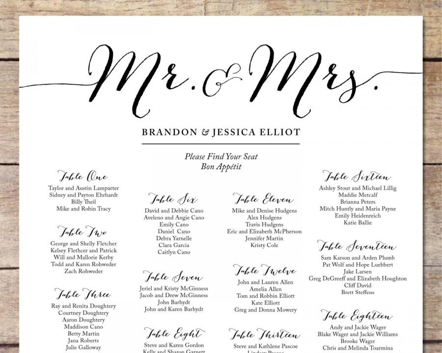 Simple wedding seating chart romantic wedding for Bridal shower seating chart template