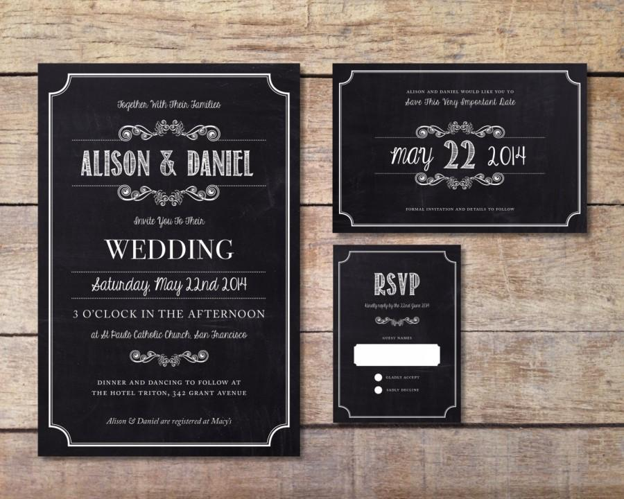 Wedding Chalkboard Invitation - Modern Chalkboard Invite - Black