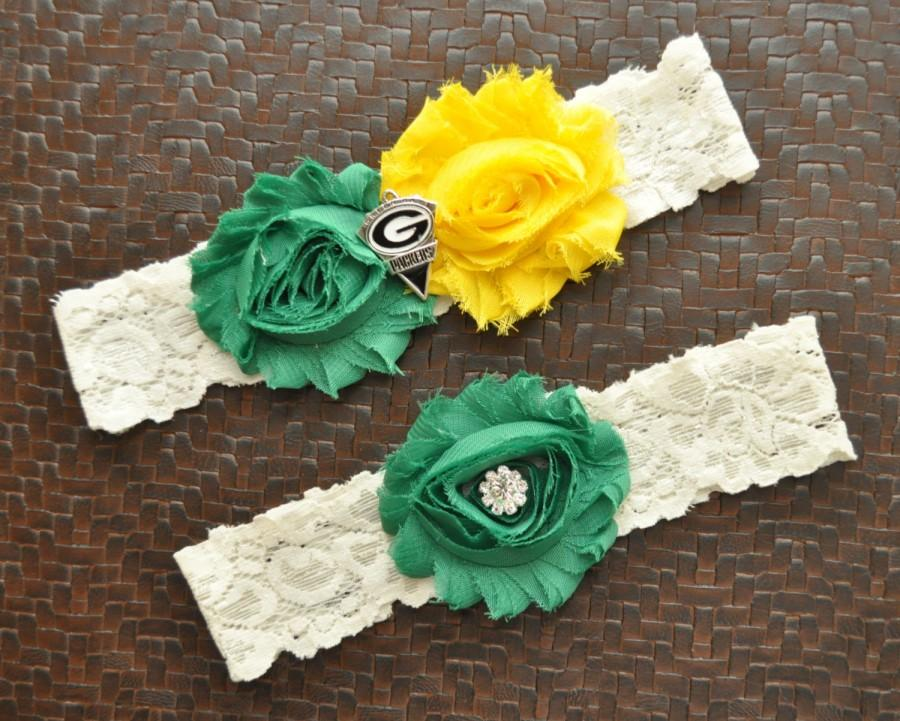 Mariage - Green Bay Packers Wedding Garter Set, Green Bay Packers Bridal Garter Set, Ivory Lace Wedding Garter, Football Garter, Packers Garter