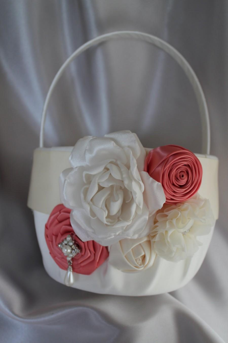 Mariage - Large-White or Ivory Flower Girl Basket-Coral-Custom Colors-Flower Girls Age 8+