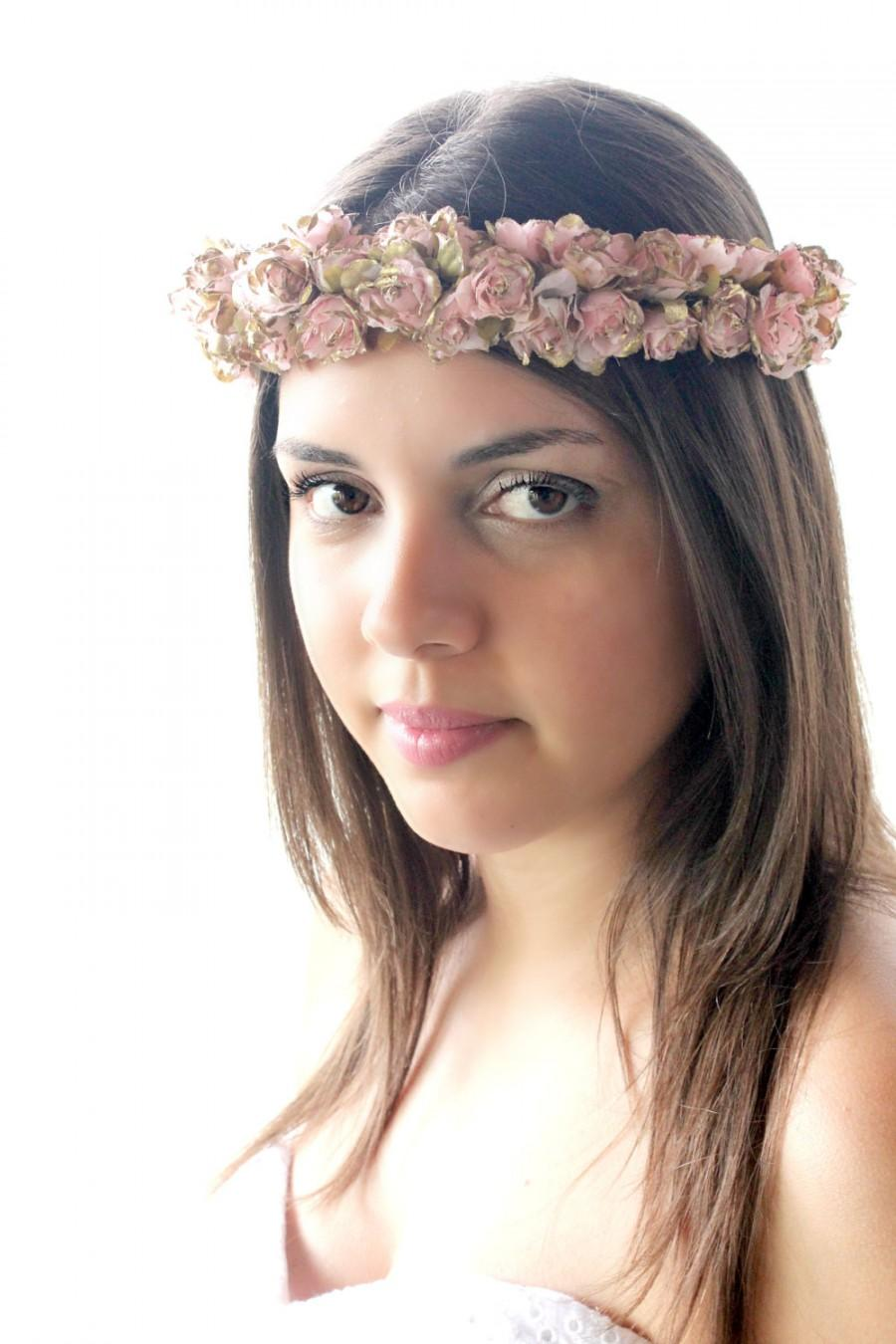 On sale pink and gold floral crown boho flower crown woodland on sale pink and gold floral crown boho flower crown woodland bridal headpiece spring wedding summer hair accessories izmirmasajfo
