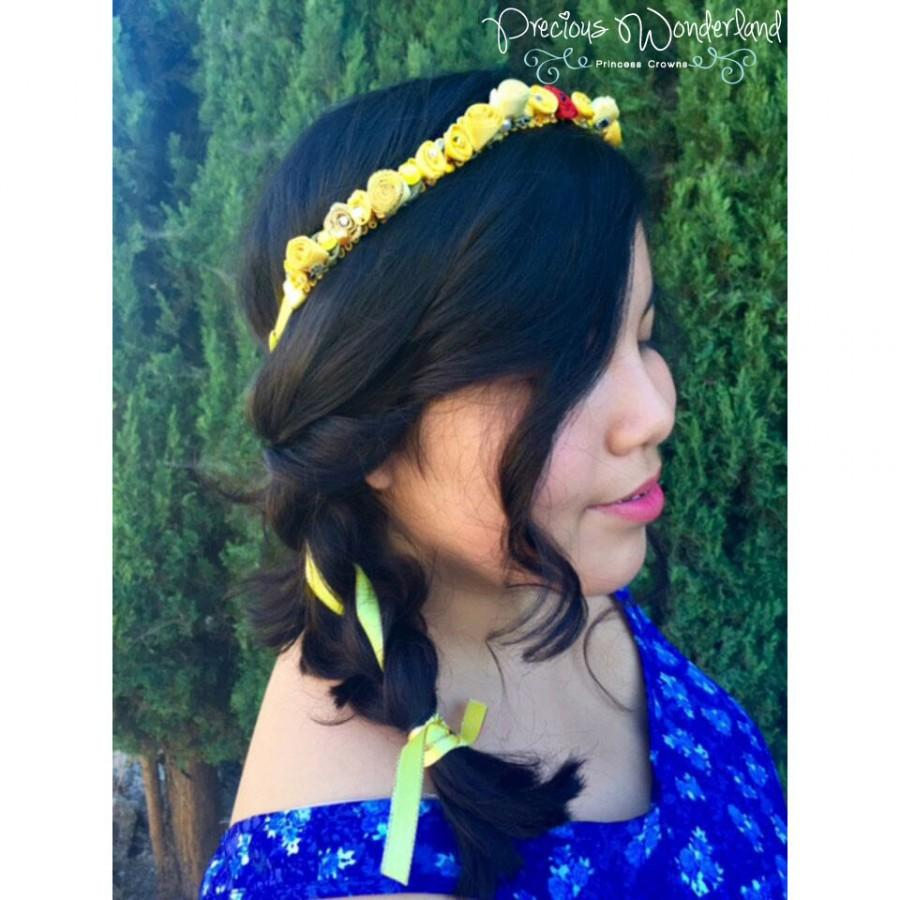 Beauty And The Beast Belle Inspired Princess Flower Crown Wreath