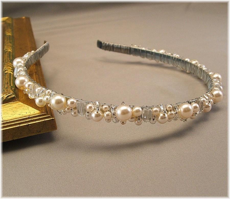 Hochzeit - Bridal Tiara - Wedding Hair Accessories - Head Band - Ivory Cream Pearls and Clear Crystal