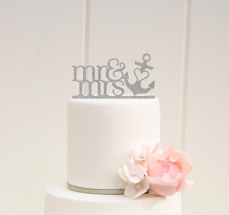 Mariage - Custom Glitter Wedding Cake Topper Mr & Mrs with Heart Anchor Nautical Beach Cake Topper