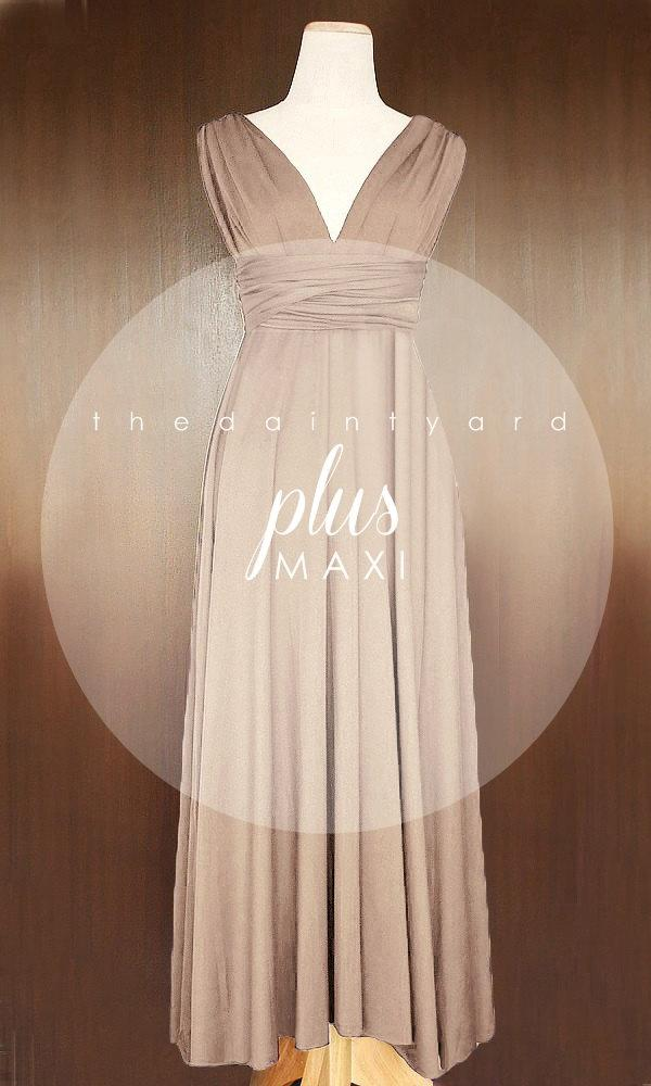 MAXI Plus Size Light Taupe Bridesmaid Dress Convertible ...