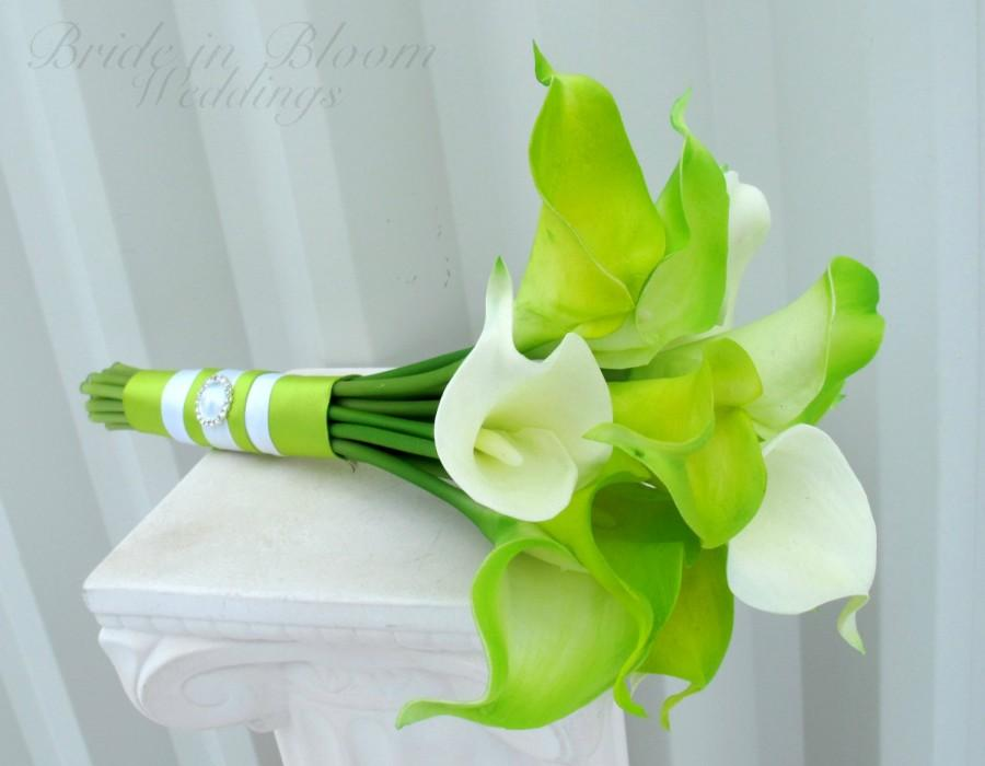 Hochzeit - Bridesmaid bouquet Lime green real touch calla lily Wedding bouquet