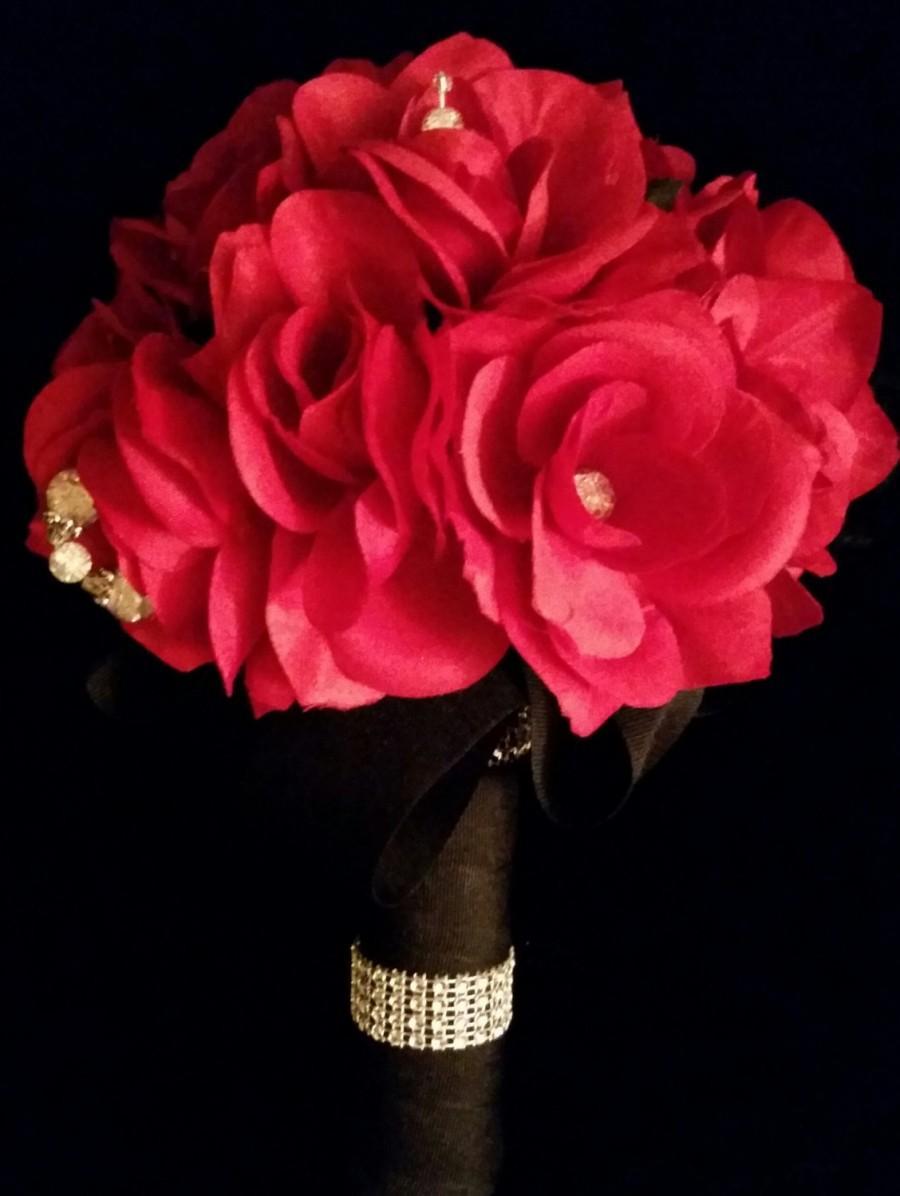Hochzeit - Red Silk Bridal Bouquet