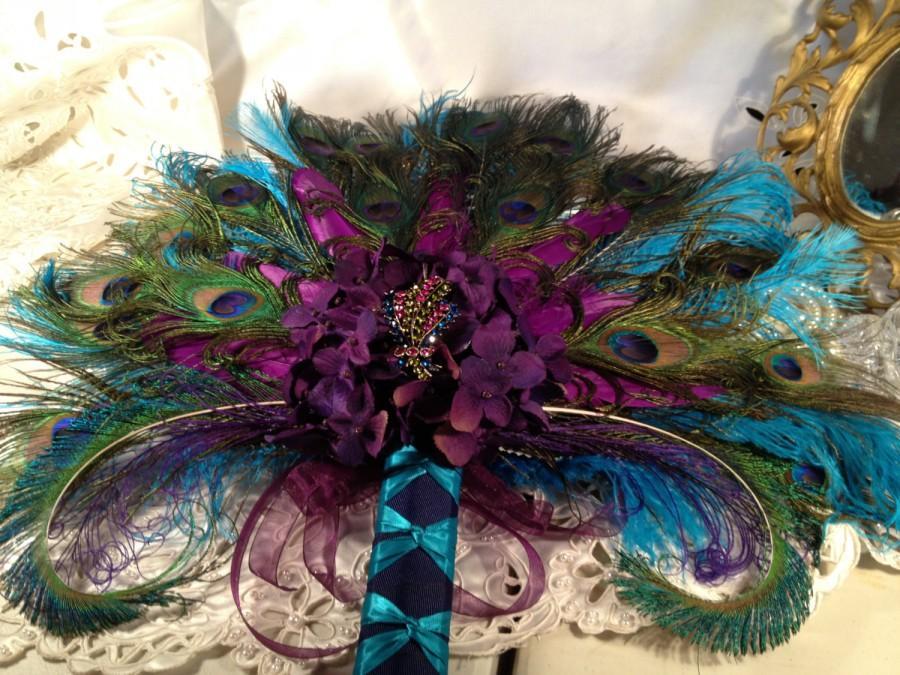 Mariage - SALE - Deposit Peacock Wedding Purple Teal Bridal Bouquet Fan Keepsake, Quinceanera
