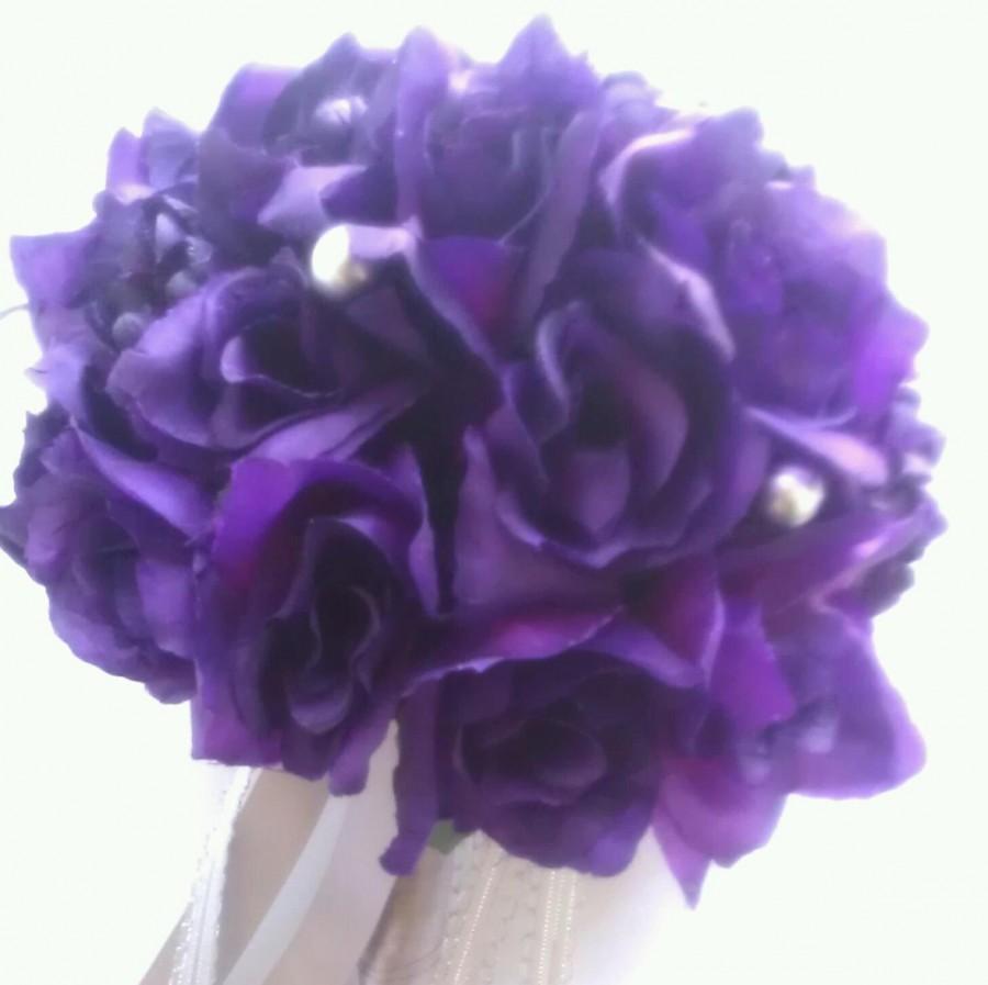 Mariage - Majestic Purple Silver Pearl Silk Bouquet
