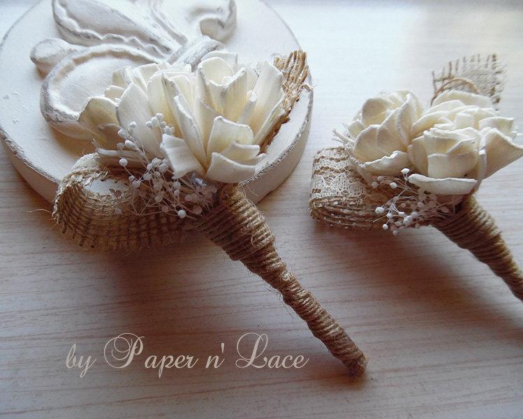 Свадьба - Burlap & Sola Boutonniere, Groom, Groomsmen Wedding Boutonniere. Made to Order.