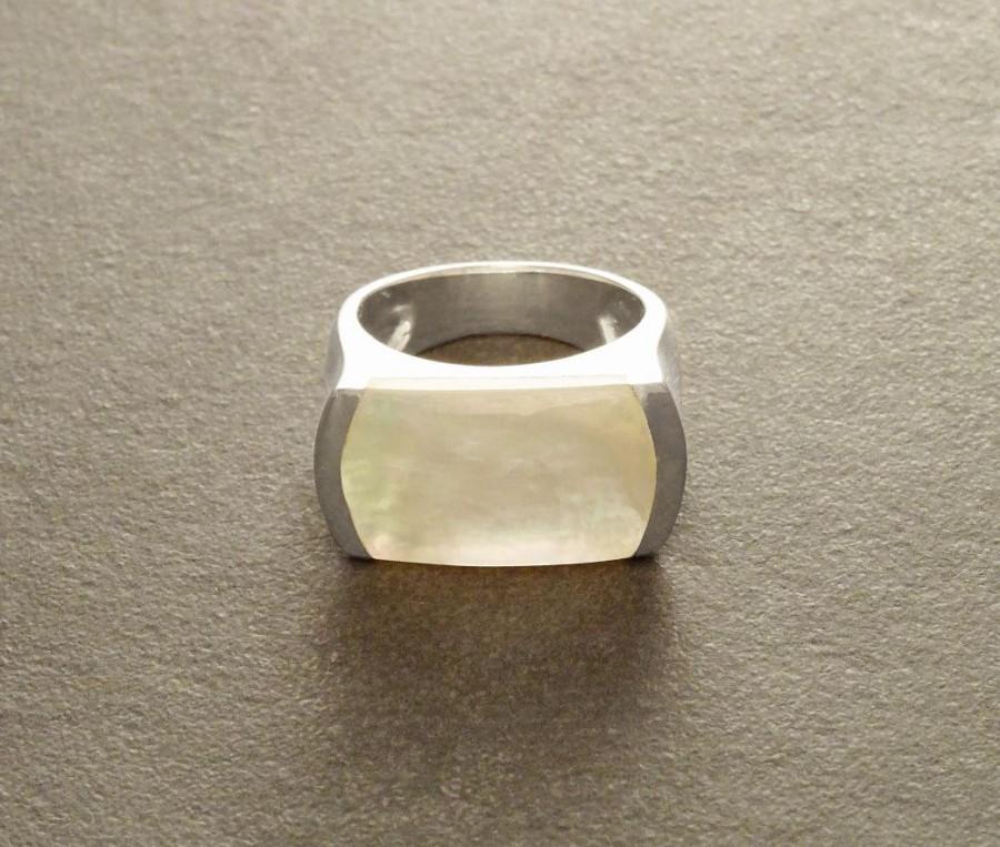 زفاف - MOP Silver Ring - Sterling Silver Ring, Mother of Pearl Gemstone, Art Deco Ring, Vintage Ring, Boho Jewelry, Geometric Ring, Statement Ring