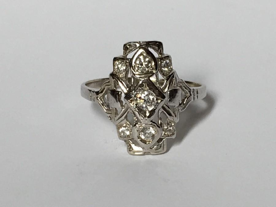 Hochzeit - Vintage Diamond Cluster Ring in 14K White Gold. Art Deco Filigree Ring. Unique Engagement Ring. April Birthstone. 10 Year Anniversary Gift