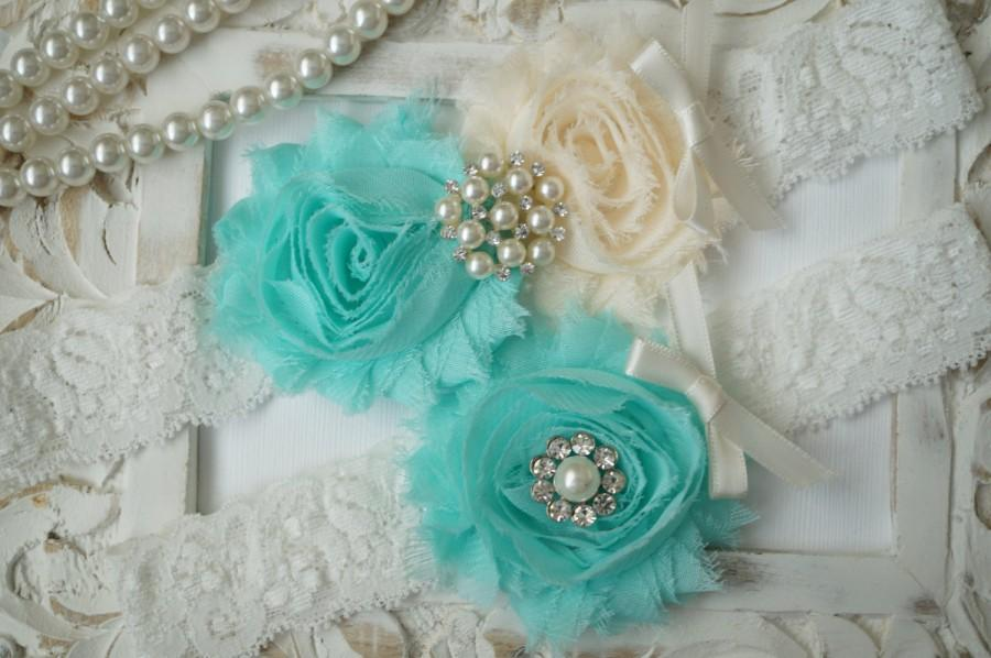 Mariage - Wedding Garter Set, Bridal Garter Set, Vintage Wedding, Ivory Lace Garter, Crystal Garter Set, Something Blue