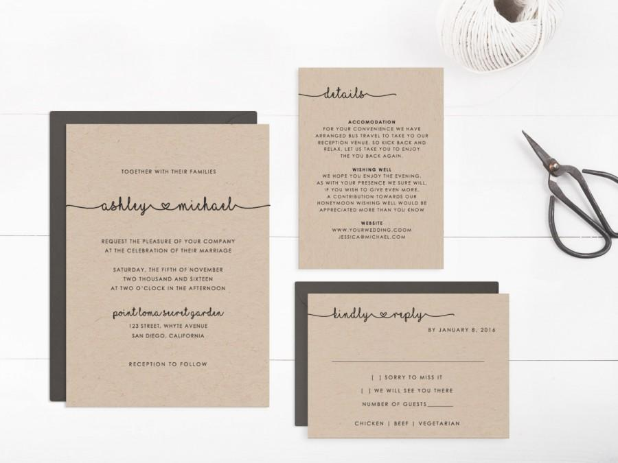 Wedding Invitation Suite Templates: Printable Wedding Invitation Suite Template, Editable Text