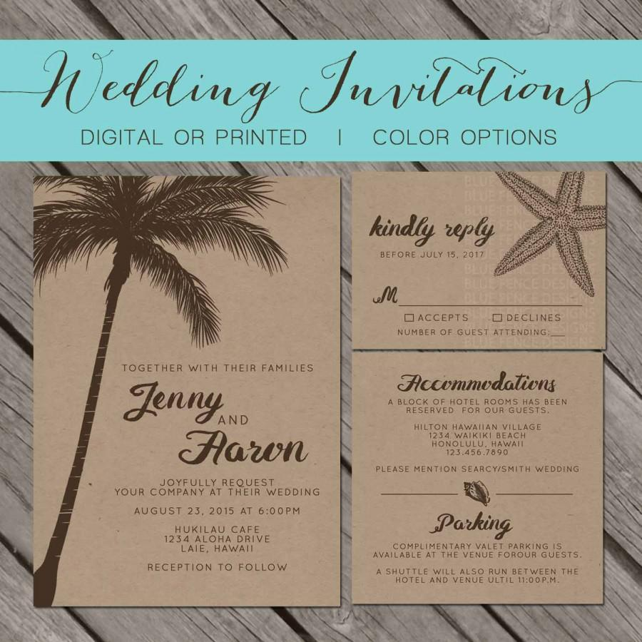 Rhode Island Wedding Invitation Printed: Beach Kraft Paper Wedding Invitation, Palm Trees, Island