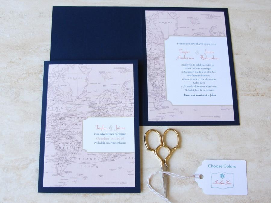 Vintage Wedding Invitation Booklet   Vintage Map   Destination Travel Theme    Folded Layered   Choose Your Colors