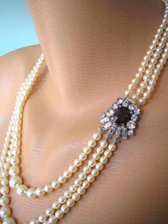 Wedding - AMETHYST and Pearl Necklace, Purple Bridal Choker, Great Gatsby, Deco, Rhinestone Necklace, Wedding Jewelry, Bridal Necklace, Pearl Necklace