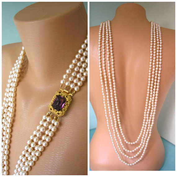 Hochzeit - BACKDROP Bridal Necklace, Pearl Backdrop Necklace, Amethyst Necklace, Bridal Jewelry, Long Pearl Necklace, Great Gatsby, Cream Pearls