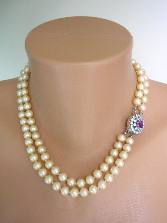 Wedding - AMETHYST Necklace, Pearl Bridal Choker, Purple Jewelry, Great Gatsby, Bridal Pearls, Art Deco, Rhinestone, Bridal Necklace, Pearl Necklace