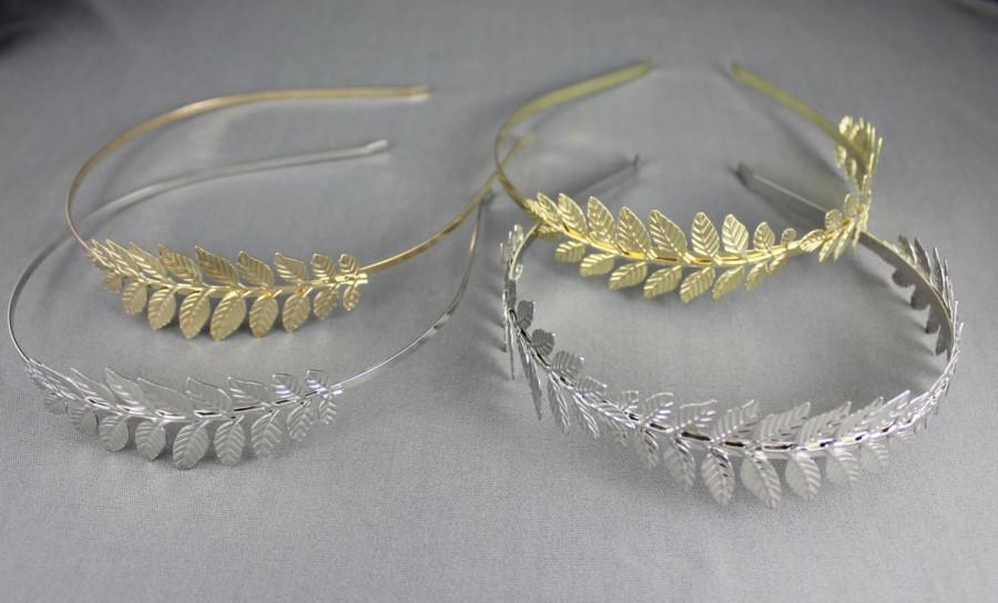 Mariage - Gold Silver Laurel Leaf headband crown Leaves hair band greek toga roman costume greek goddess head piece fascinator coronas branch