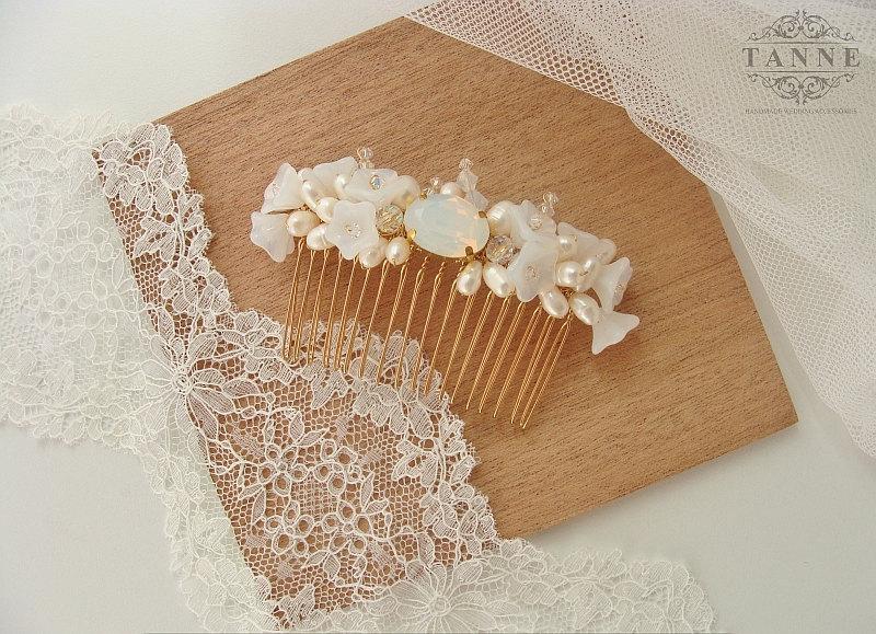 Wedding - Bridal Hair Comb, Bohemian Wedding Hair Accessory, Gold Bridal Headpiece, Rhinestone Wedding Headpiece, Gold Comb, Crystal Wedding Hair Comb