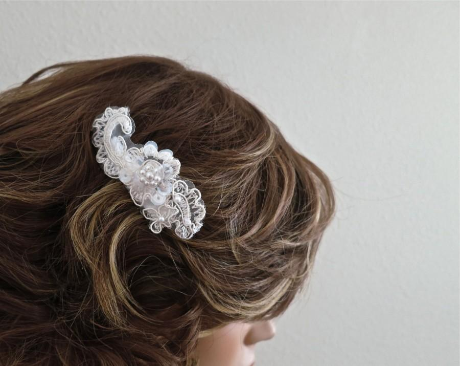 Wedding - Bridal Lace Hair Comb. Pearl Lace Bridal Comb, Bridesmaids Gift Wedding Accessories, Sequin Ivory Lace
