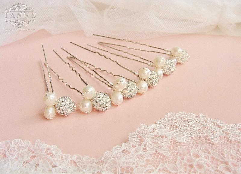 Mariage - Pearl Wedding Hair Accessories, Bridesmaid Hair Pin Set of 6 Hair Pin, Crystal Hair Pins, Ivory Pearl Pins, Bridesmaid Headpiece, Silver Pin