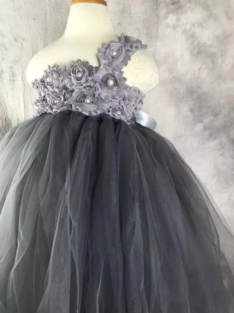Wedding - Grey Flower girl dress Lace chiffton Tutu dress Wedding dress Birthday dress 1T to 8T