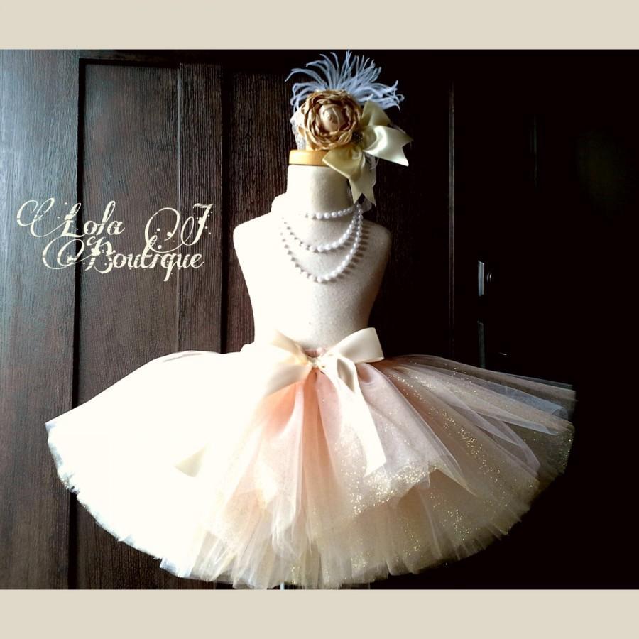 Mariage - Ballet Pink & Gold Tutu - ALL CHILDREN SIZES Made To Order Girls Champagne Glitter Sparkle Bridal Bride Infant Toddler 2T 3 4 5 6 7 8 9 10