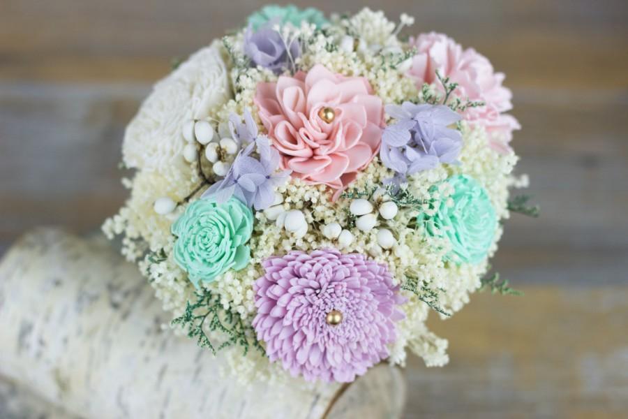 Свадьба - Bridesmaids Bouquet, Lavender/Mint/Pink/Ivory Sola Flower Bouquet, Keepsake Bouquet, Rustic Bouquet, Handmade Bouquet