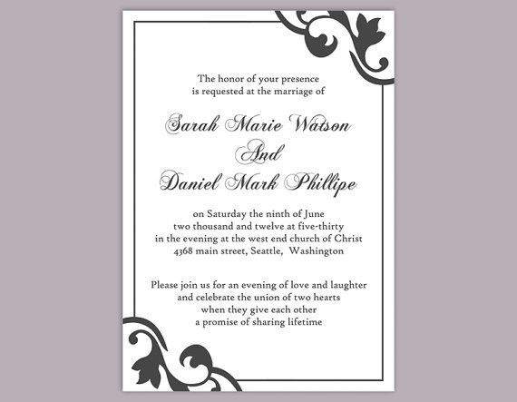 Elegant Wedding Invitation Templates: DIY Wedding Invitation Template Editable Word File Instant