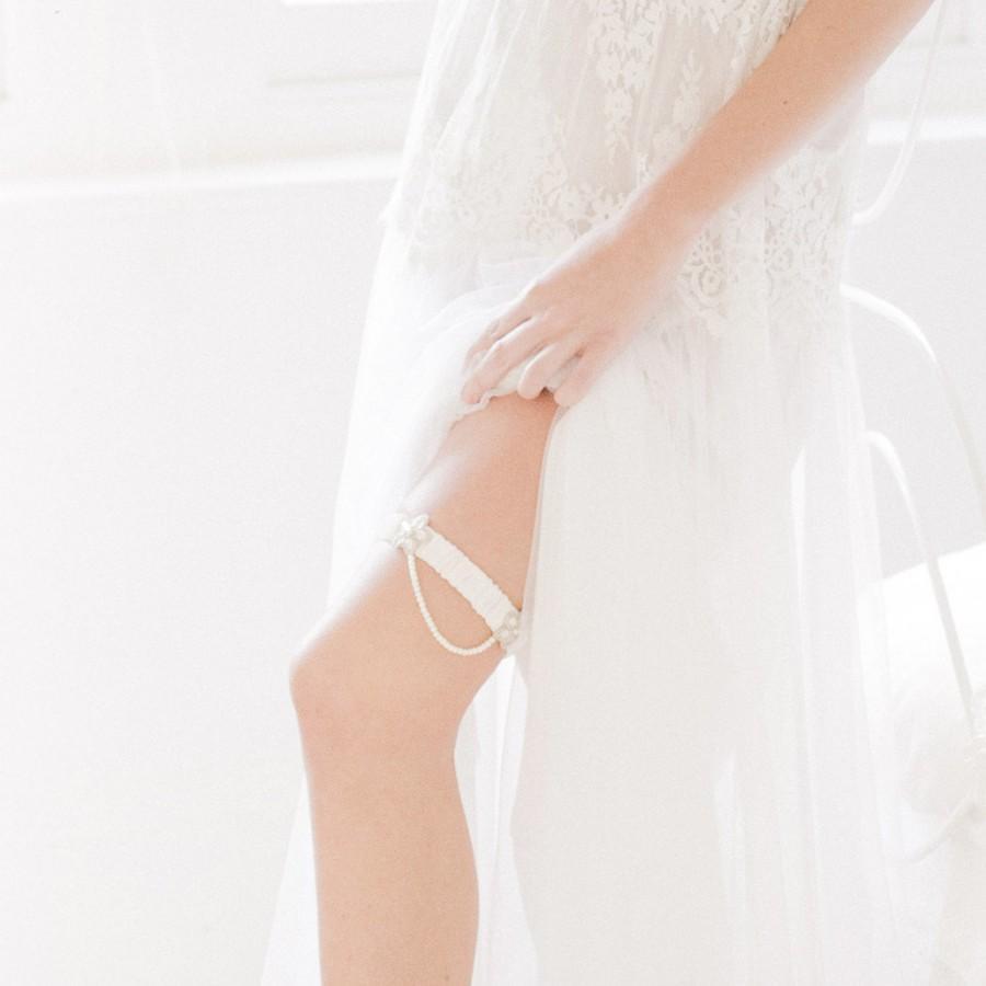 Mariage - Iva wedding garter / ivory