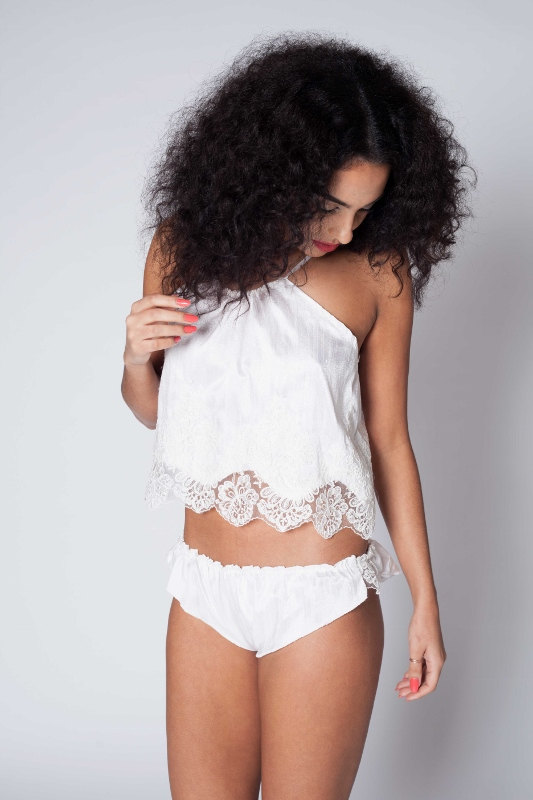 Mariage - Beautiful Luxurious Raw Silk and Lace Bridal Camisol