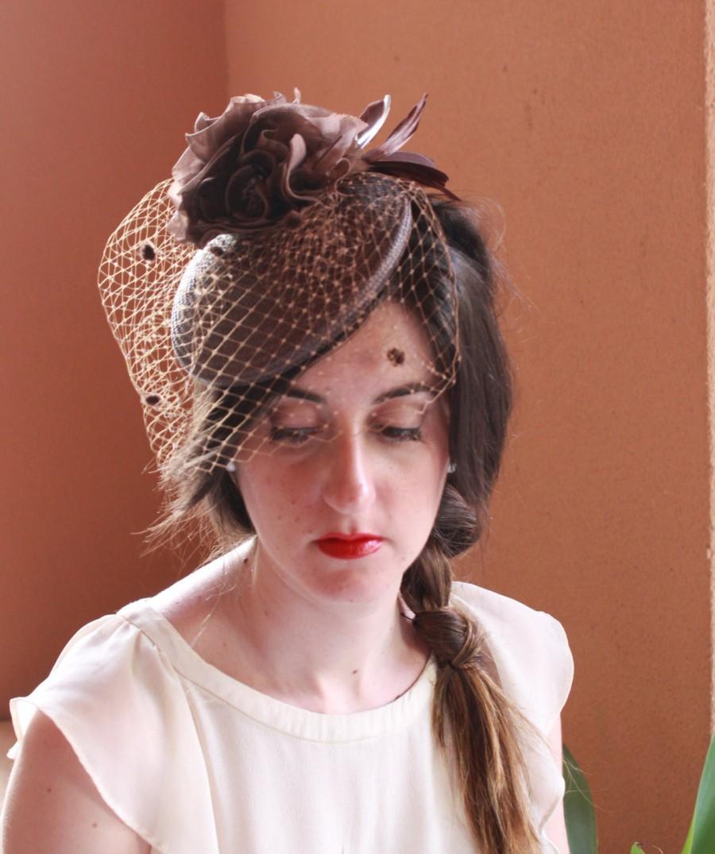 زفاف - Brown Fascinator Hat, Wedding Fascinator hat, brown cocktail hat, brown race hat, brown headdress, brown headpiece, brown buntal beret,
