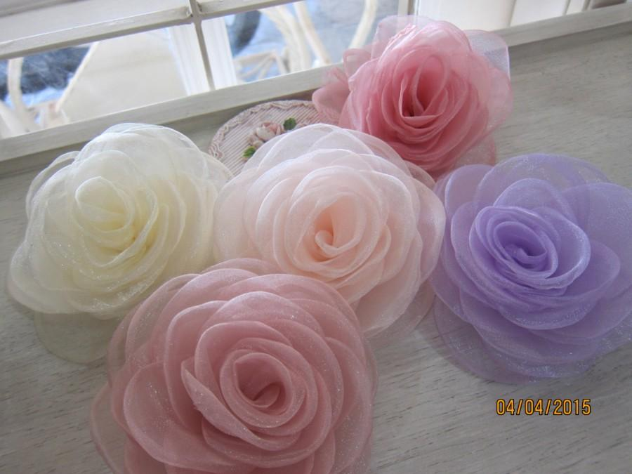 Mariage - 1pcs-Large Organza Rose/NF31-Handmade Organza Fabric Flower/Head pieces/Organza Flower