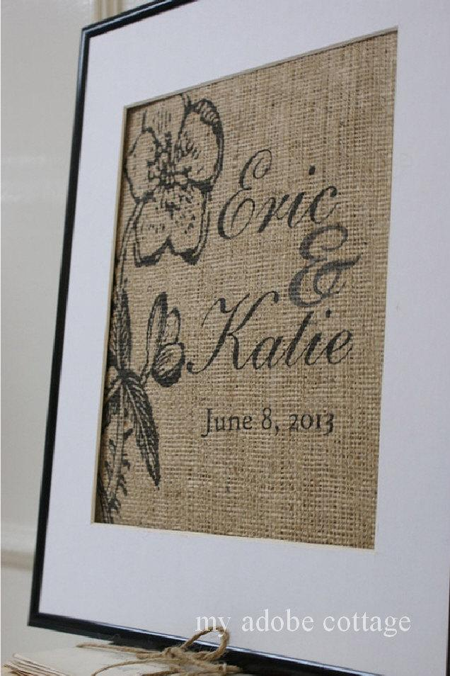 Hochzeit - Personalized Romantic Wedding Burlap Print...Great for wedding or anniversary gift!