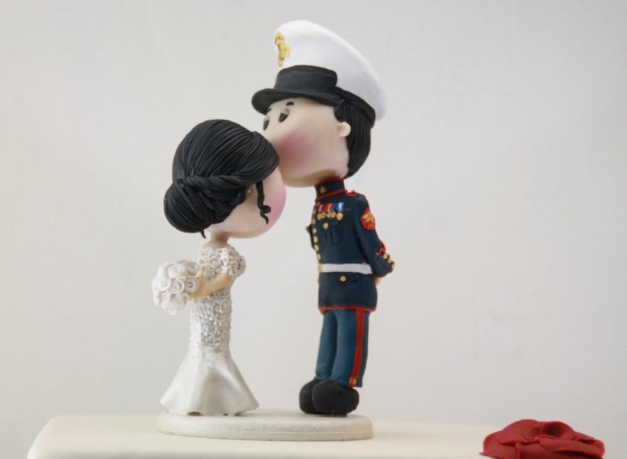 Hochzeit - Wedding cake topper. US Marine Corps. Handmade. Fully customizable. Unique keepsake