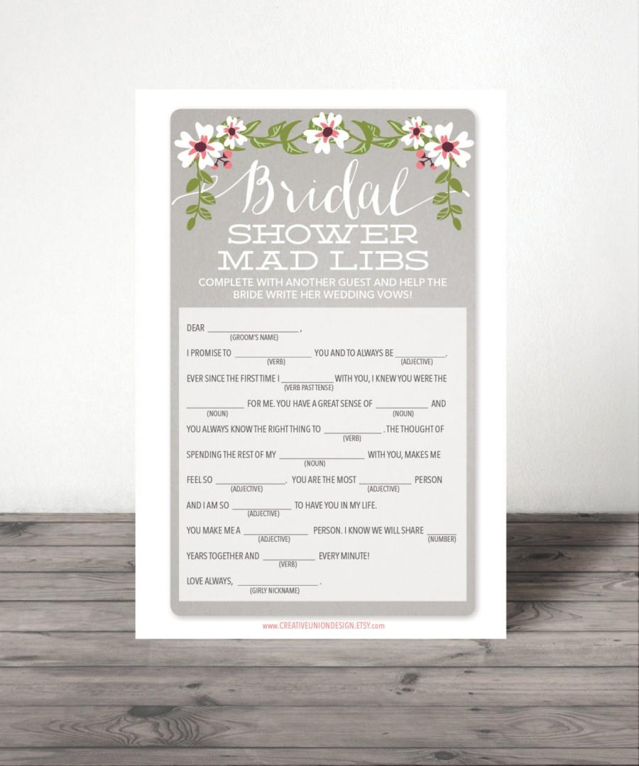 instant download bridal shower mad libs shower game wedding shower game bridal shower popular shower games a4 and us sizes