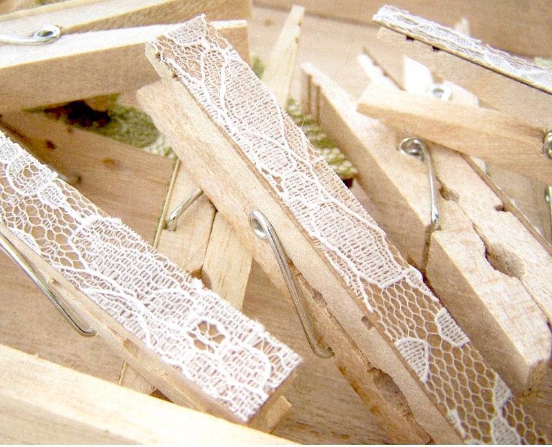 Hochzeit - SALE -Lace Clothes Pins -Antique White Pegs -Lace Clothespins -DIY Wedding Accessory -Shabby Chic Wedding -Woodland Wedding -Country Wedding