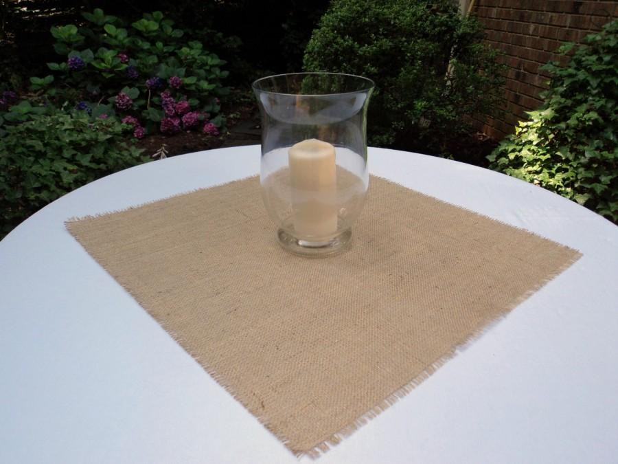 "Mariage - Burlap Table Square 24"" x 24"" Burlap Table Overlays Rustic Table Setting"