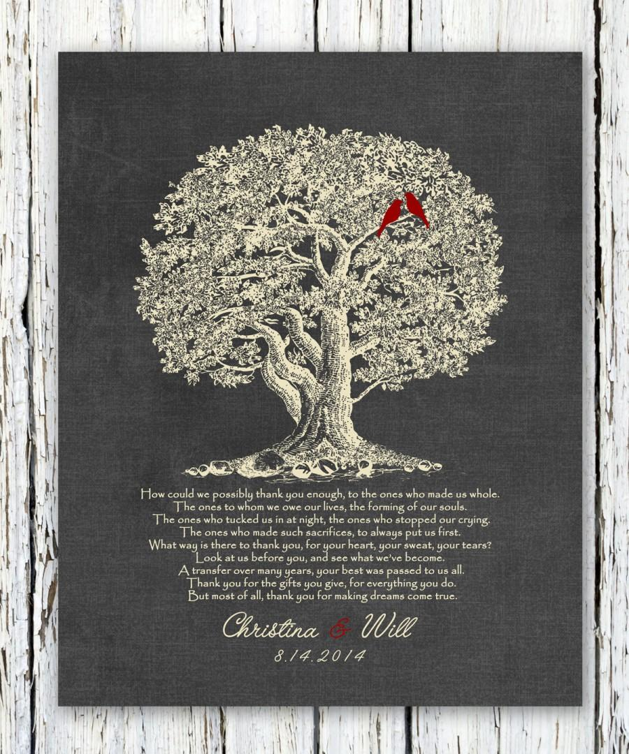 Parents Gift Grooms Brides Wedding Thank You Mother Of The Groom Bride Tree 8x10 Print
