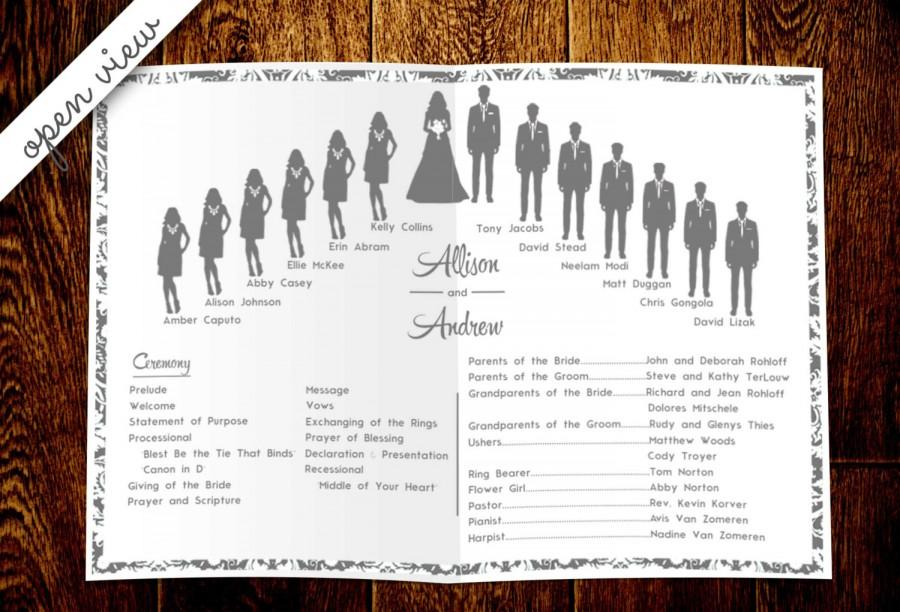 Wedding Silhouette Program DIY Customizable And Printable Pages For Mac Microsoft Word