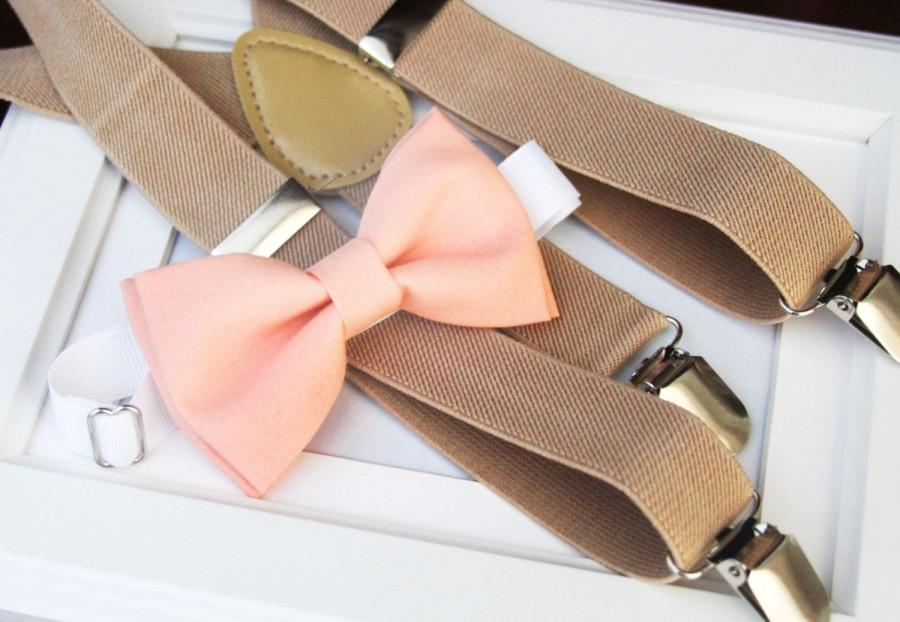 6c182dde9a4b Peach bow-tie & Beige elastic suspenders set, boy's bow tie and suspenders  set