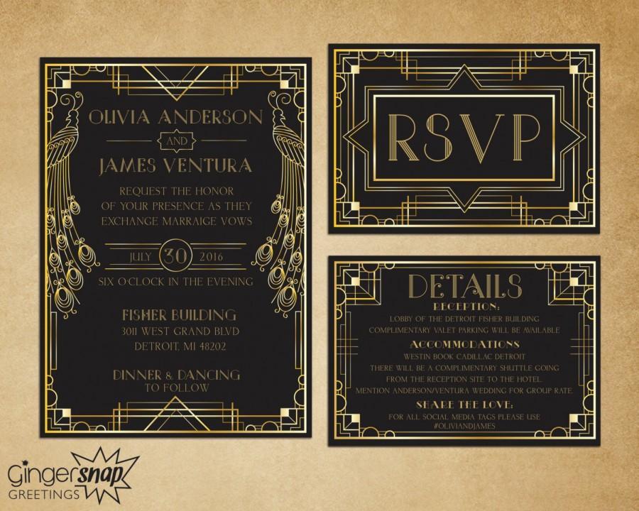 Art Deco Wedding Invitation  Great Gatsby Wedding Invitation