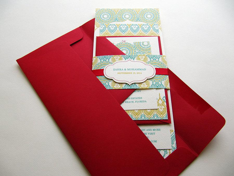 Wedding Invitation Indian Henna Red And Teal SAMPLE